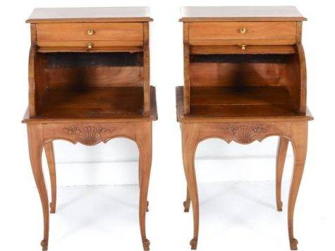 Pair Unique Cherry Night Stands Tambour Fronts