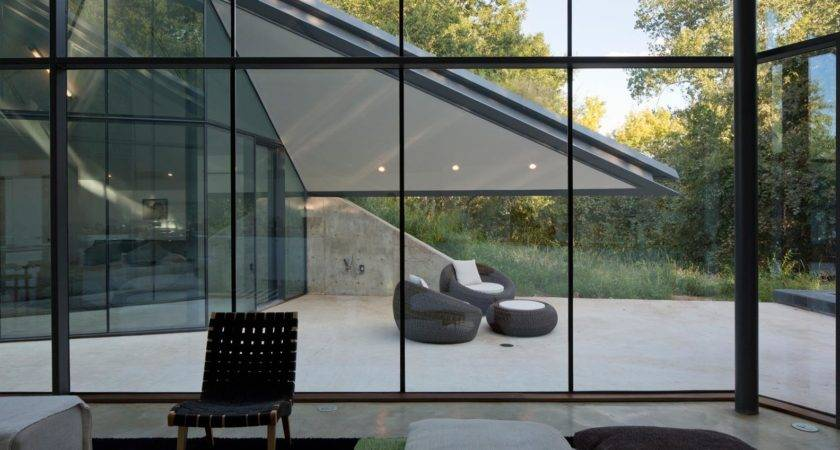 Paneled Glass Walls Pit House Outdoor Interior Design