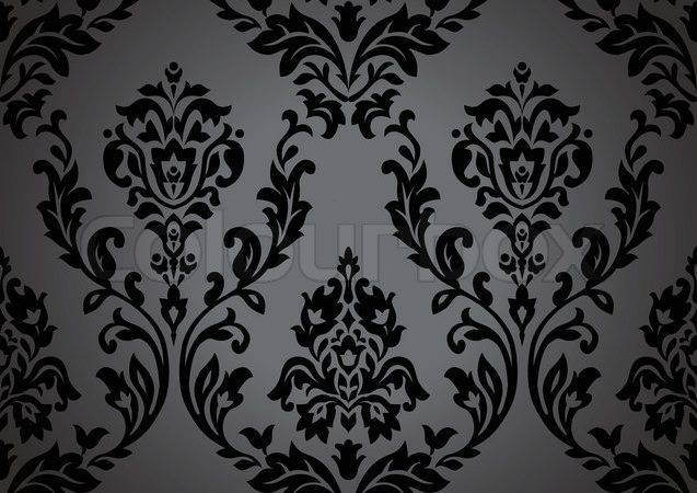 Pattern Gothic Floral Seamless Black