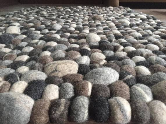Pebble Rugstone Felt Ball Rectangular Rugnatural