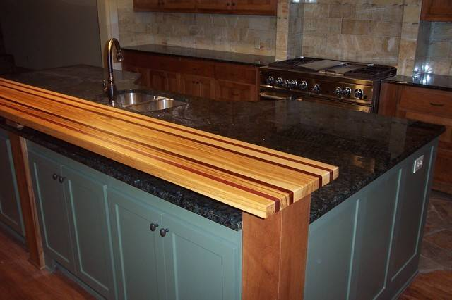 Pecan Purple Heart Edge Grain Wood Bar Top Traditional