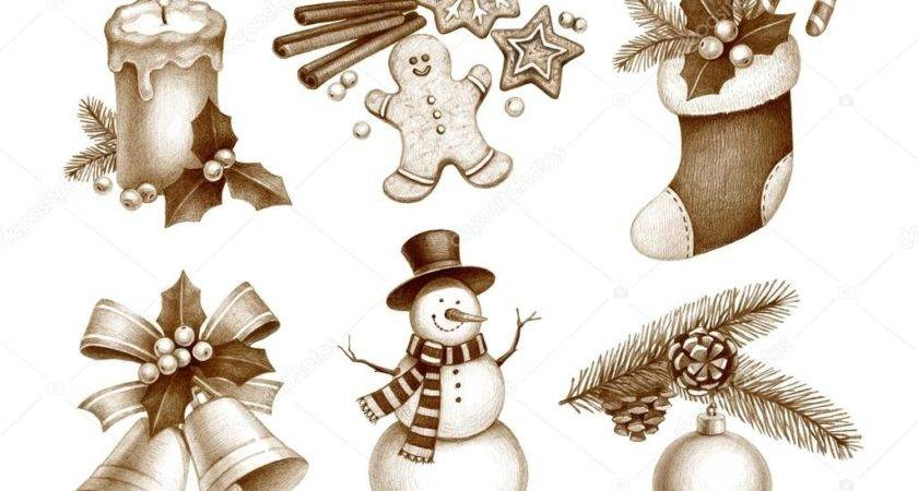 Pencil Drawings Christmas Decorations