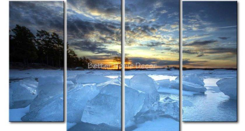 Piece Blue Wall Art Painting Frozen River Sunset Tree