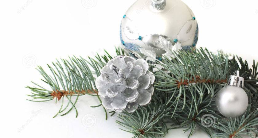 Pine Branch Christmas Silver Decorations