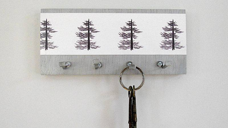 Pine Key Holder Wall Hooks Art Print Trees