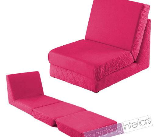 Pink Fold Out Bed Single Chair Seat Guest