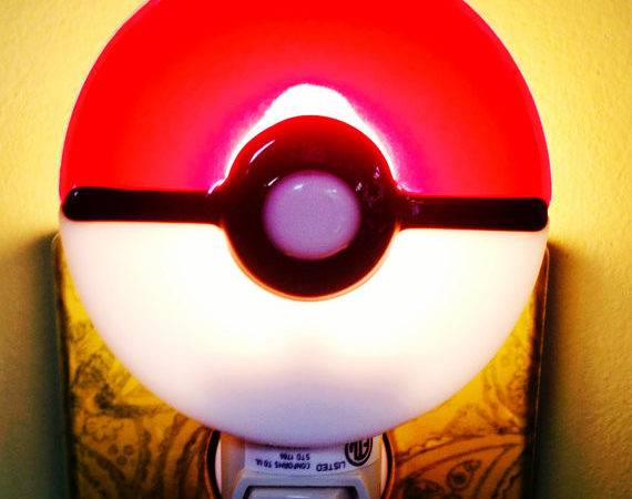 Pokemon Night Light Fused Glass Pokeball