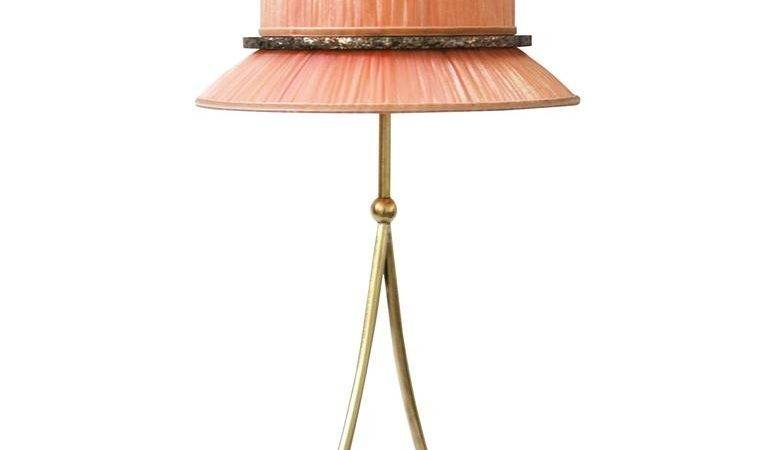 Pretty Table Lamp Console Silk Shade Silvered