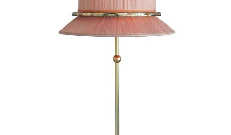 Pretty Table Lamp Matt Brass Blush Organdy Silk