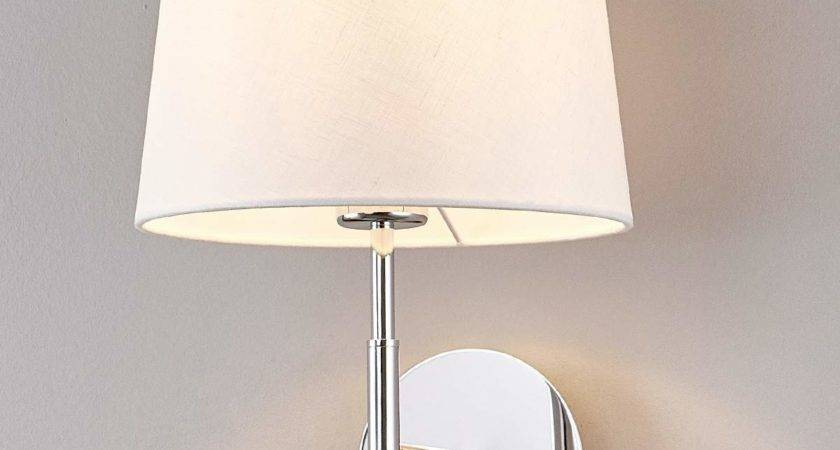 Pretty Wall Lamp Dorothea White Fabric Shade Lights
