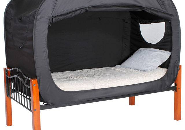 Privacy Pop Bed Tent Twin Black Canopies Tents