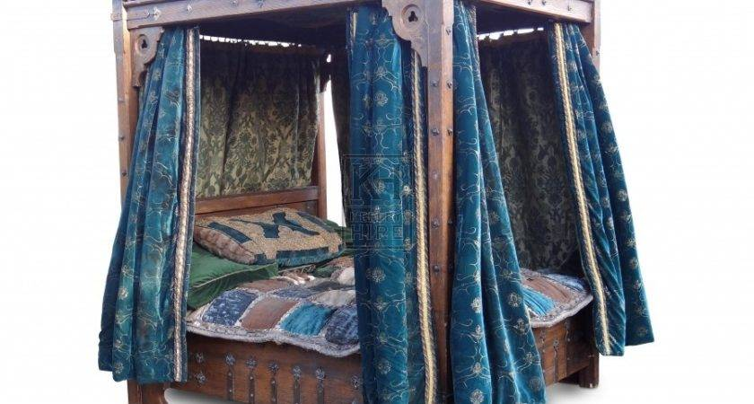 Prop Hire Beds Large Poster Bed Velvet Drapes