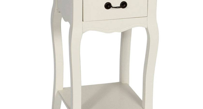 Provencale White Bedside Table Narrow