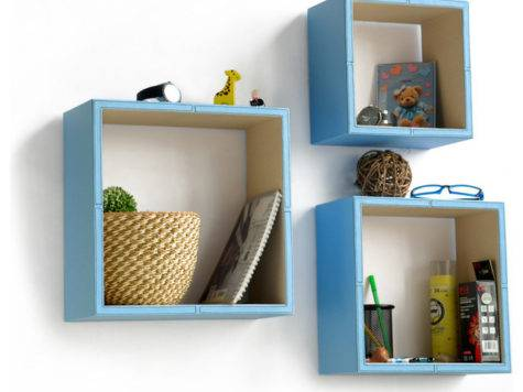 Pure Blue White Square Leather Wall Shelf Floating