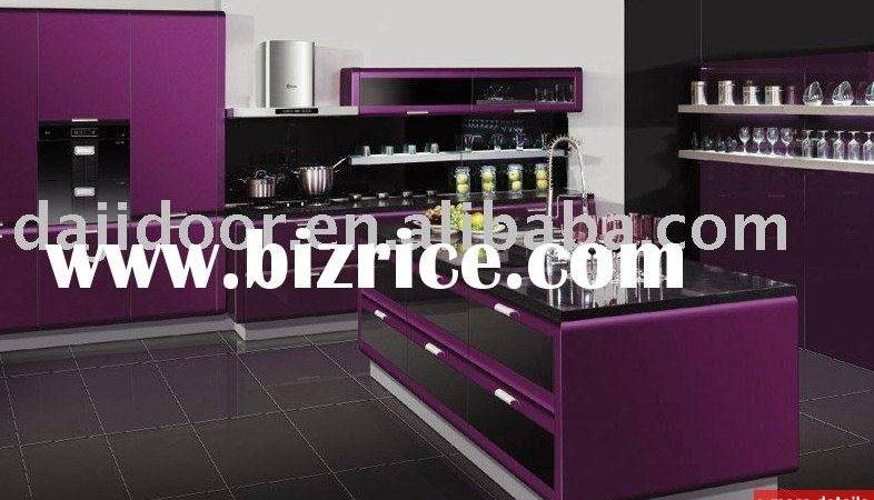 Purple European Style High Gloss Modern Kitchen Design