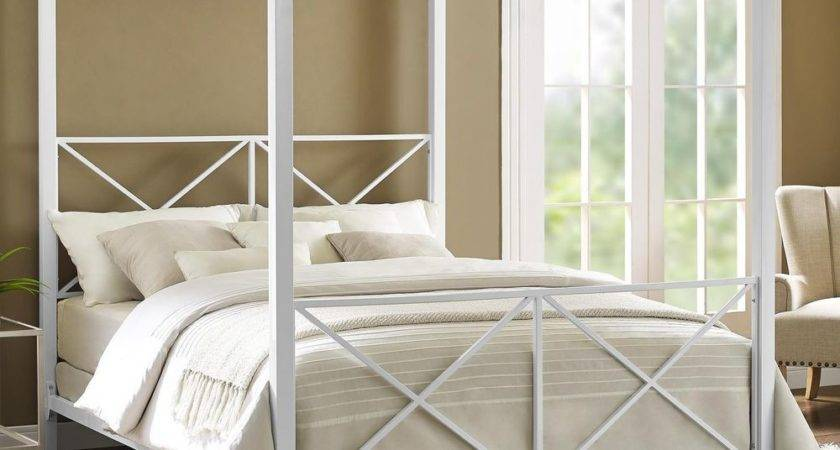 Queen Canopy Bed Frame White Four Poster Modern Iron