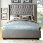 Queen Elegant Mira Silver Button Tufted Bed Frame