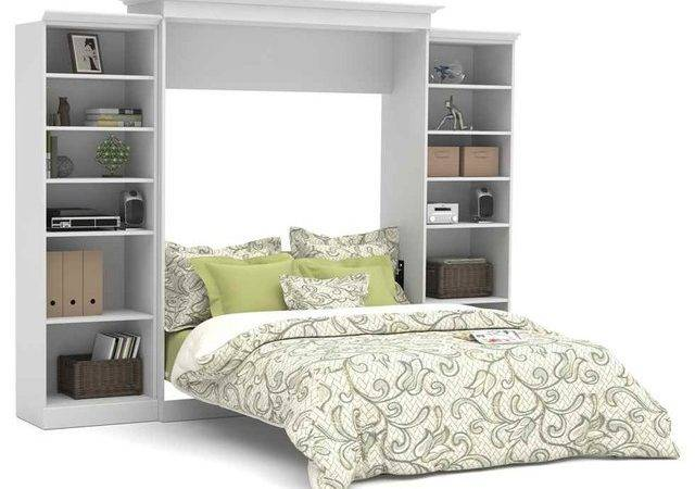 Queen Wall Bed Storage Units White
