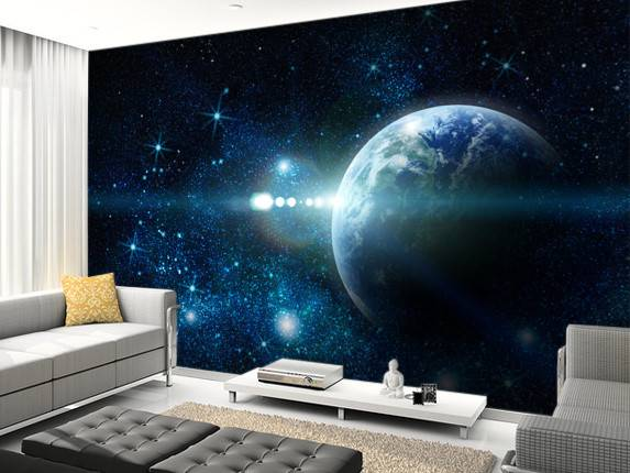 Realistic Planet Earth Space Wall Mural Wallsauce