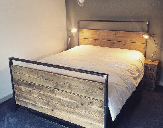 Reclaimed Industrial Chic Hand Made King Bed Furniture