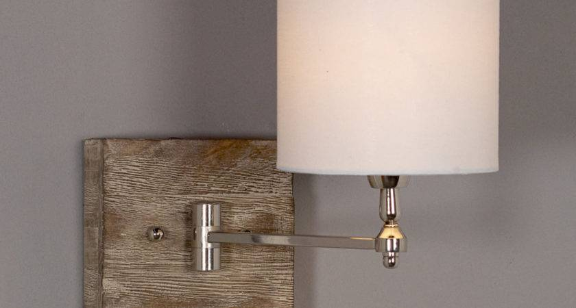 Reclaimed Wood Swing Arm Wall Lamp Shades Light