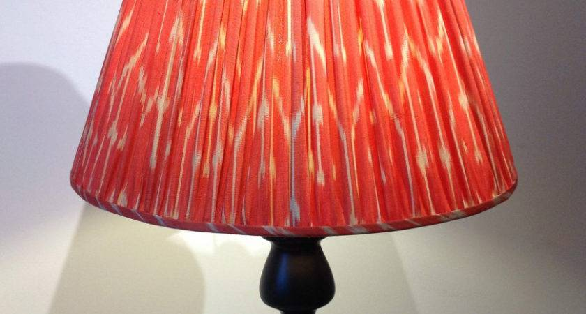 Red Silk Lamp Shade Large Cream Patterned Ikat