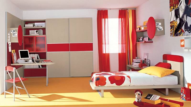 Red Teenage Rooms Interior Design Photos