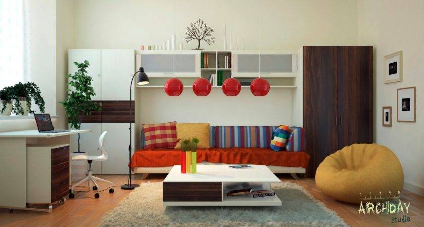 Red White Living Room Office Decor Interior Design Ideas