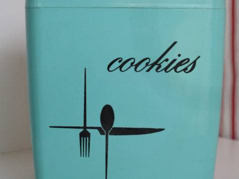 Retro Cookie Jar Aqua Kitchen Decor Vintage