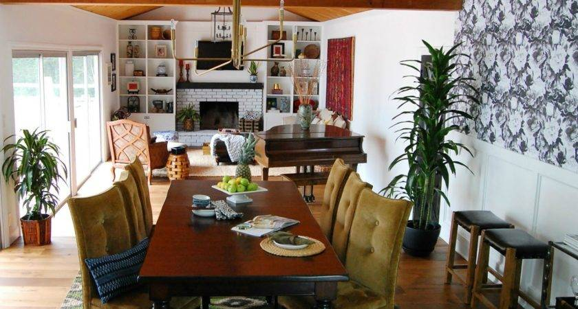 Retro Eclectic Dining Room Toward Rooms
