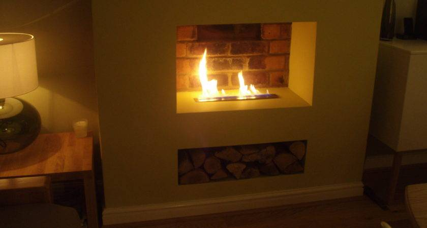 Ribbon Flame Old Chimney Breast Bio Fires Gel