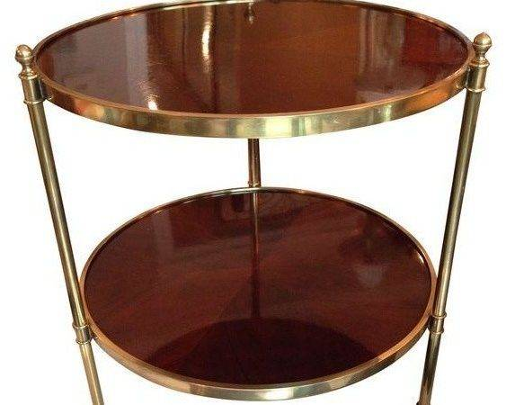 Round Baker Side Table Two Shelves Traditional