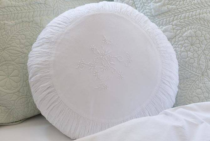 Round Bed Pillow Decorative White