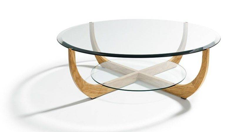 Round Glass Top Coffee Table Wood Base Eaton
