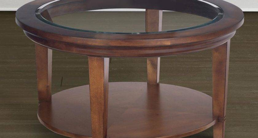 Round Wood Coffee Cocktail Table Glass Top