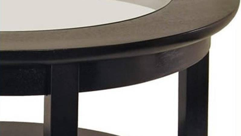 Round Wood Coffee Table Glass Top Dark Espresso