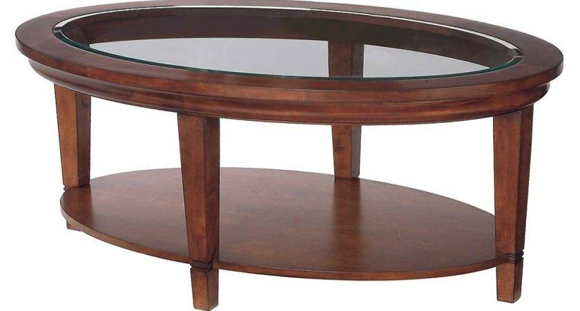 Round Wood Coffee Table Storage Cherry