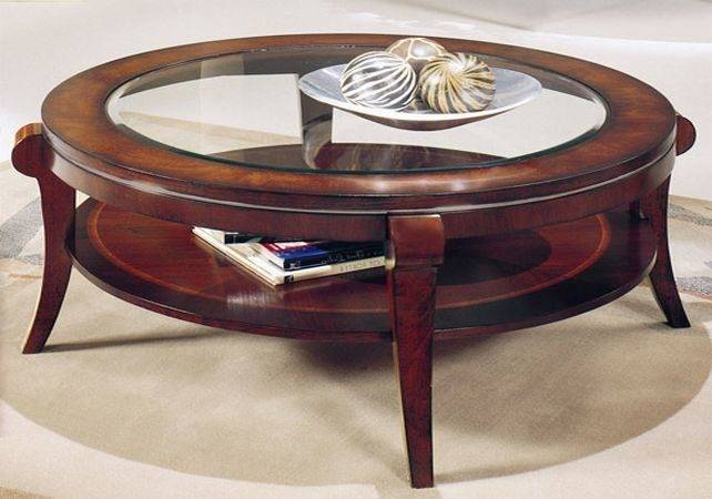 Round Wood Glass Coffee Table Tables Guide