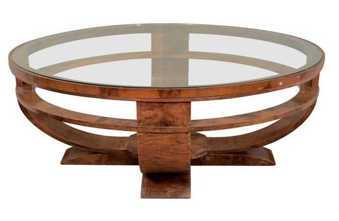 Round Wood Glass Coffee Table Unique Tables
