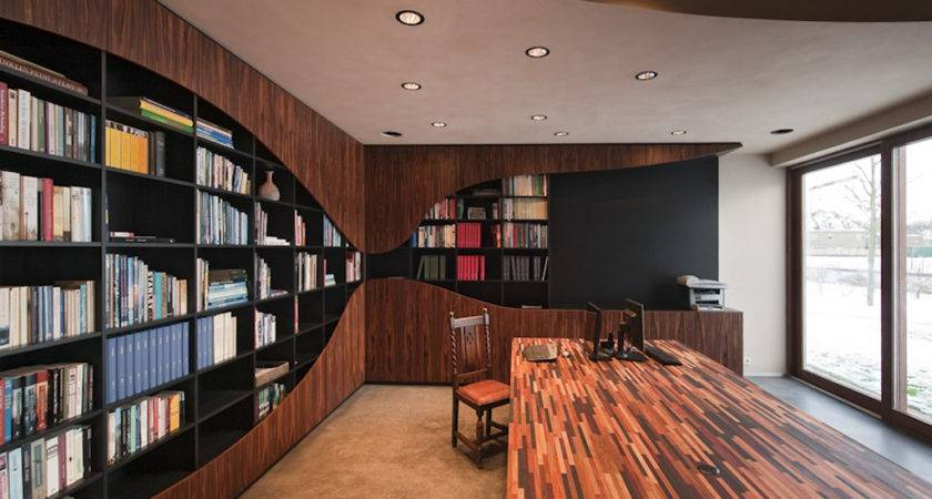 Rounded Fixtures Library Room Interior House Design