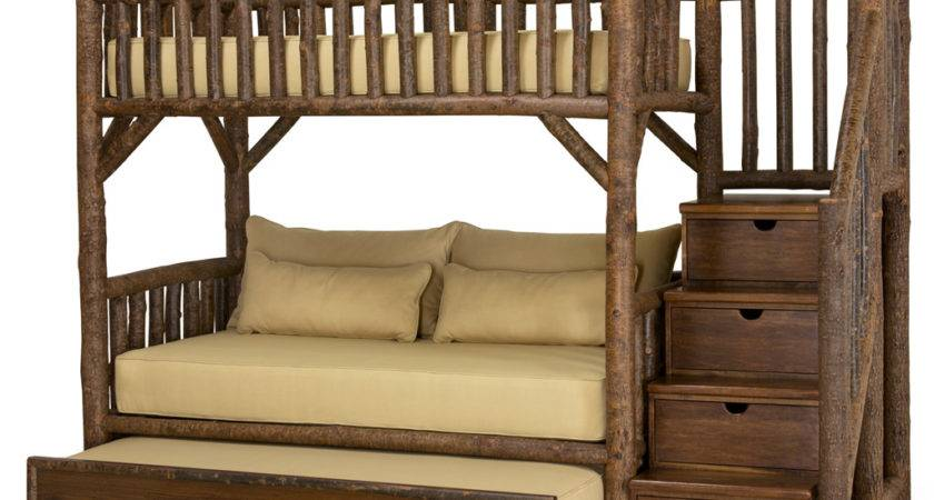 Rustic Bunk Bed Trundle Stairs