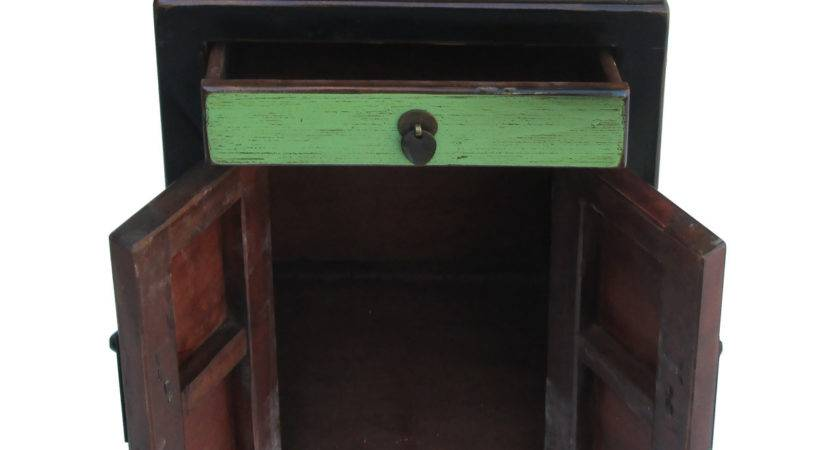 Rustic Green Black Solid Wood Night Stand End Table Small