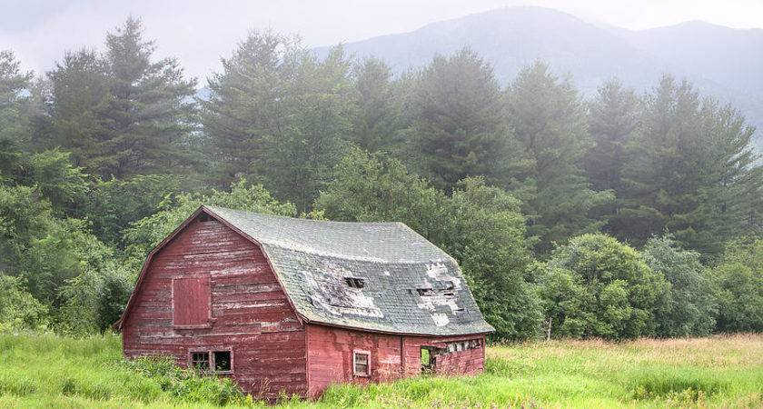 Rustic Landscape Red Barn Old Mountains