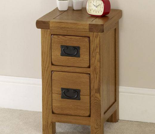 Rustic Oak Drawer Slim Bedside Table Solid Bedroom