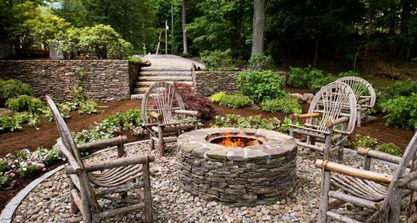 Rustic Style Fire Pits Landscaping Ideas Hardscape