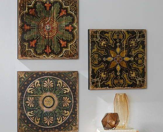 Sahara Printed Wood Tiles Wall Art Set Pottery Barn