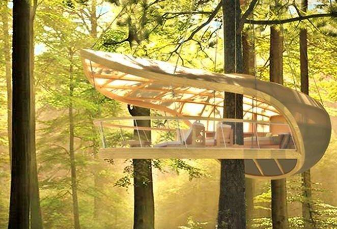 Sailboat Inspired Prefab Treehouse Villa Hangs