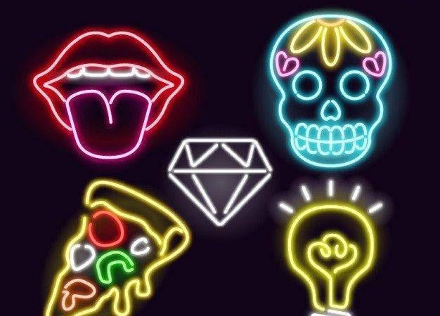 Set Neon Signs Modern Style Vector