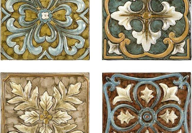 Set Old Spanish Mission Rosette Design Wall Tiles