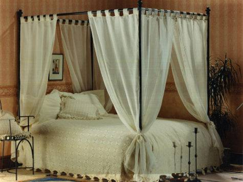 Set Voile Cotton Four Poster Bed Curtains